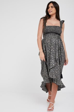 Picture of Kaia Romantic Maternity Dress Black And Gold Print