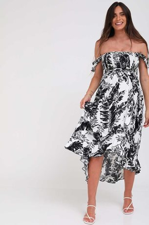 Picture of Kaia Romantic Maternity Dress Black And White
