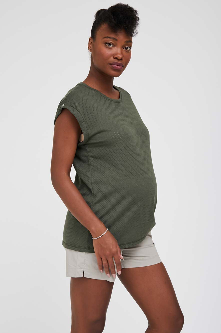 Picture of Mesh Maternity Top Olive Green