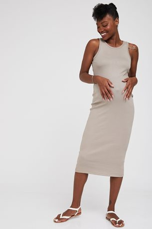 Picture of Martina Ribbed Bodycon Maternity Dress Camel