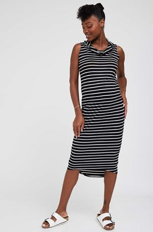 Picture of Gal Maternity Maxi Dress Black and White
