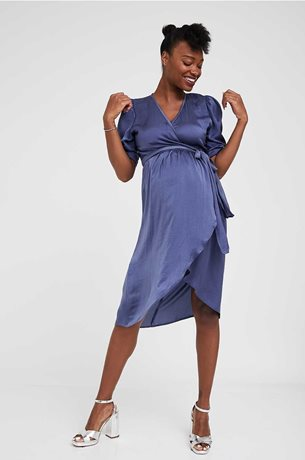 Picture of Wrap Over Bell Maternity Dress Ash Blue