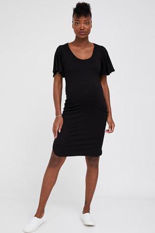 Picture of Basic Flutter Sleeves Maternity Dress Black