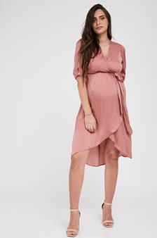Picture of Wrap Over Bell Maternity Dress Pink Clay