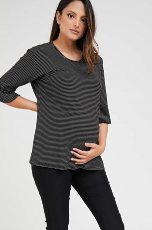 Picture of Bell sleeve Maternity Top Black Stripes
