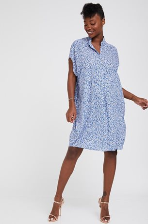 Picture of Shira Maternity Dress Blue & Gold Print