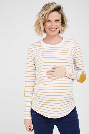 Picture of Patch Maternity Top Cream and Mustard