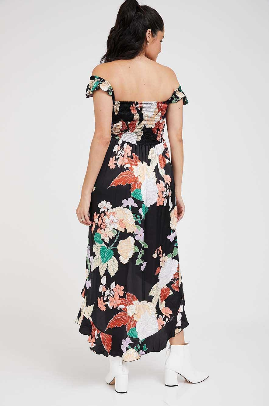 Picture of Alina Asymmetric Maternity Dress Black Floral