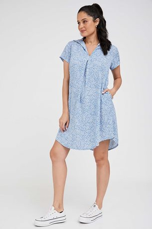 Picture of Oversize Maternity Shift Dress Blue Print