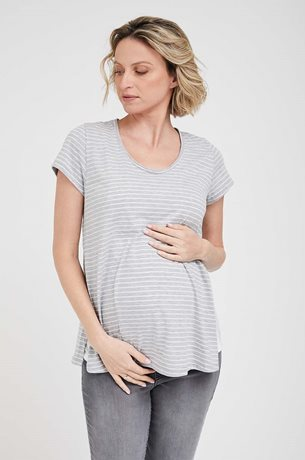 Picture of Layered Nursing Tee Grey Stripes