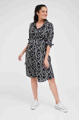 Picture of Rome Maternity Shirt-Dress Black Print