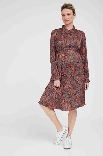 Picture of Rome Maternity Shirt-Dress Satin Orange Clay