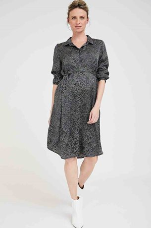 Picture of Rome Maternity Shirt-Dress Satin Navy Olive