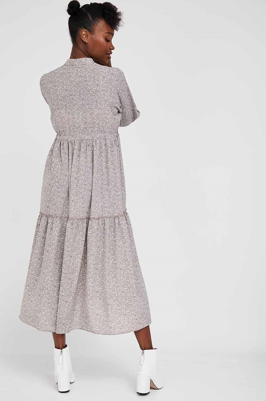 Picture of Claudette Maternity Dress 3/4 Sleeves Gray Beige