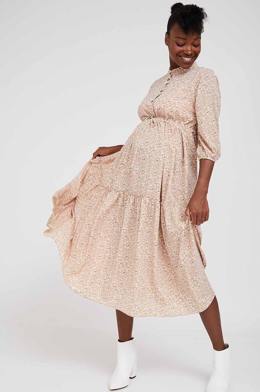Picture of Claudette Maternity Dress 3/4 Sleeves Beige Print