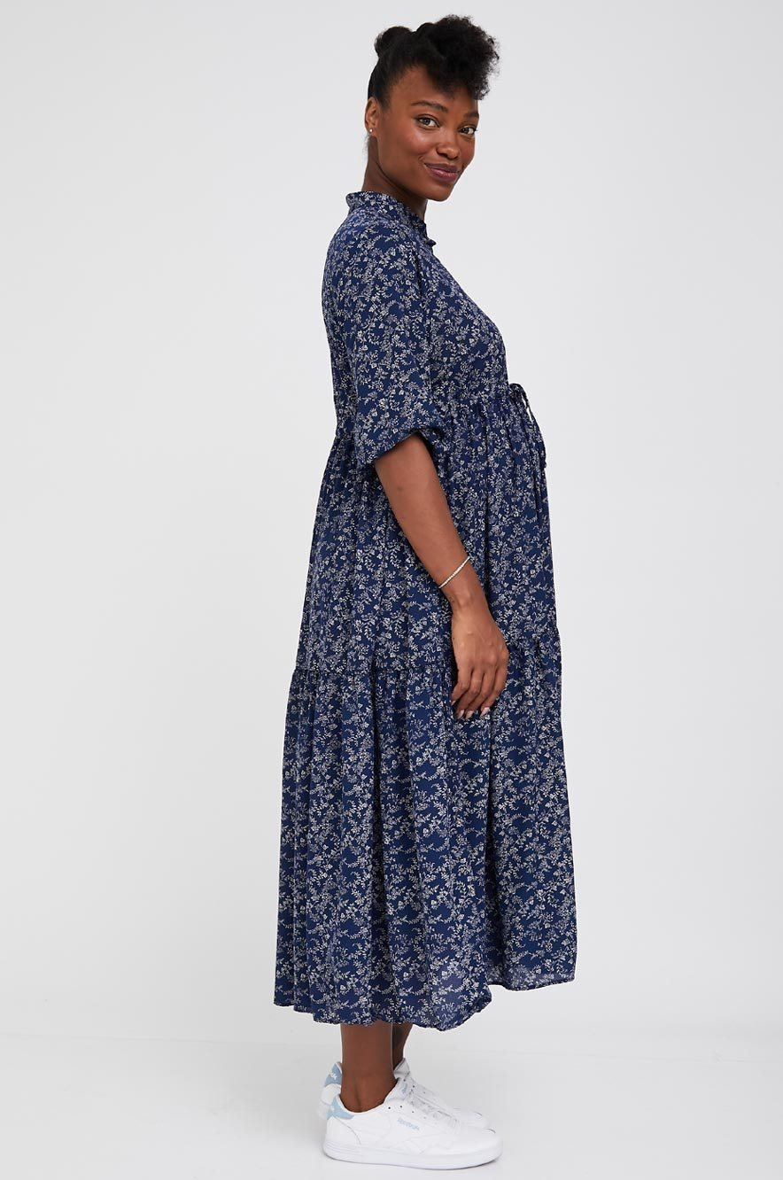 Picture of Claudette Maternity Dress 3/4 Sleeves Floral Navy