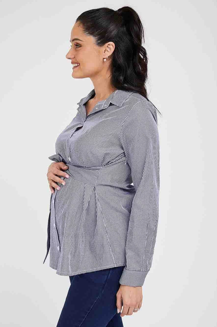 Picture of Lindos Maternity Top Blue & Grey Print