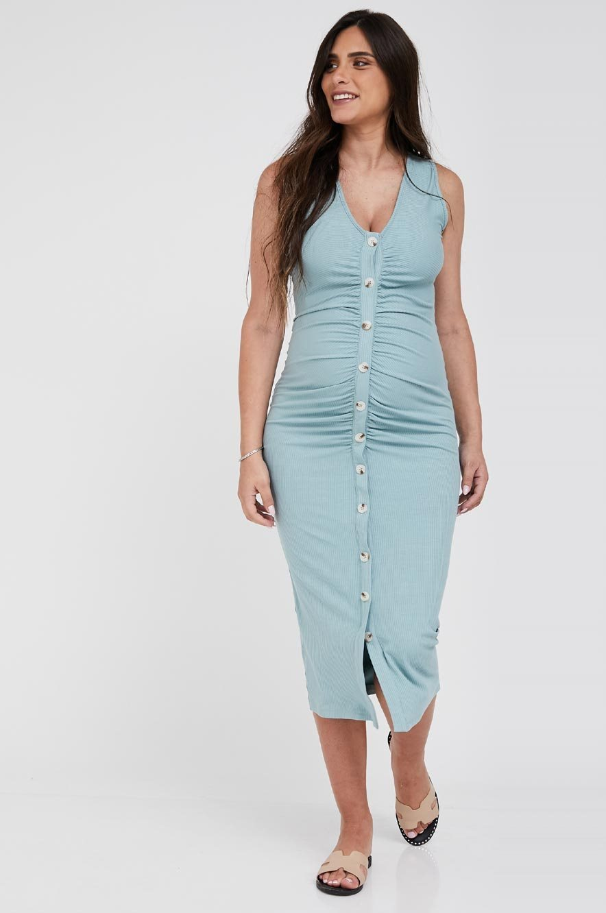 Picture of Ruched Bodycon maternity dress Beige