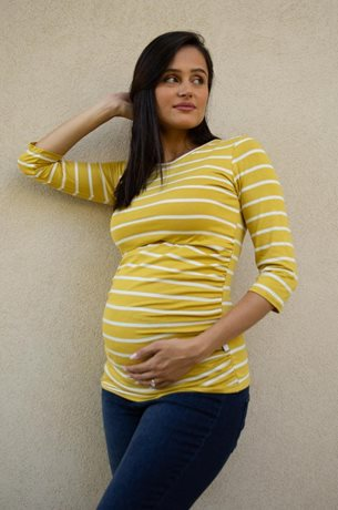 Picture of Niki Maternity Top Midi Sleeve Musterd Stripes