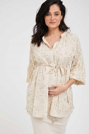 Picture of Costa Rica Maternity Top Beige & Gold Print
