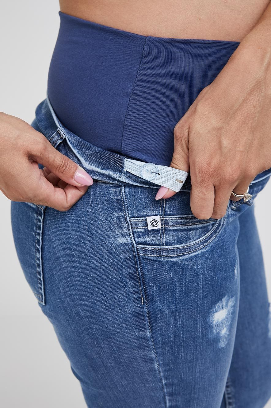 Picture of Distressed Maternity Skinny Jeans Blue