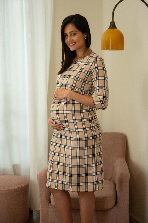 Picture of Brooklyn Maternity Dress Plaid Beige